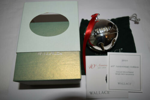 Wallace Annual Silver Plate Sleigh Bell Ornament 2010 Used Bad Sleeve