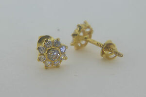 new solid 22ct indian gold cluster flower stud earrings solid gold not plated