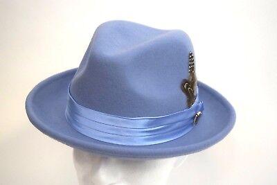 Men's Fedora Dress Hat Light Blue UN-120 Size S, M, L, XL 100% Australian - Light Blue Fedora