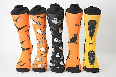 Men's Fun Crew Socks Halloween, Ghosts, Bats, Spiders, Coffins Shoe Size 6-12.5