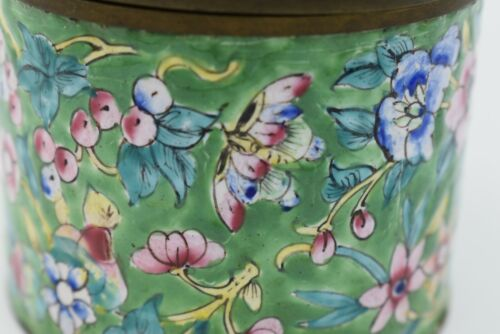 Chinese tea caddy jar box floral enamel on brass