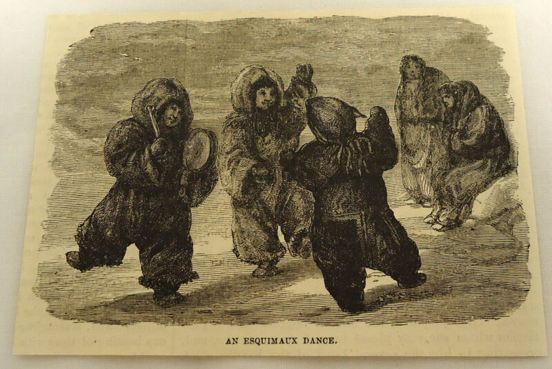 1879 small magazine engraving ~ AN ESQUIMAUX DANCE ~ Eskimo