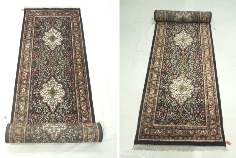 2.6 x 16 Rich Design Long Jammu adroitness Hand-Knotted Black Runner Rug