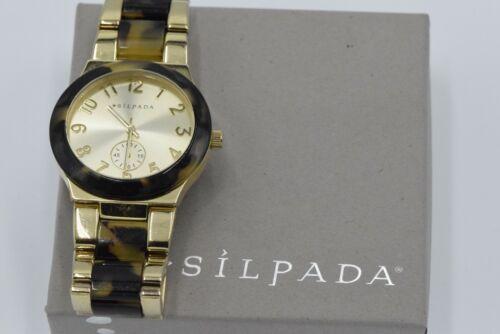 "Silpada ""Timeless Tortoise"" Resin Stainless Steel Gold Watch KRT0016"