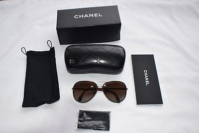 fad6333b962c0 New CHANEL Aviator Polarized Sunglasses 4219-Q C. 395 S9 Gold Dark Brown  Leather