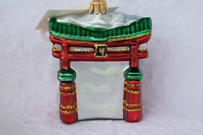 Torii Gate Glass Ornament Holiday Decoration 0738 Mouth Blown & Hand Painted ()