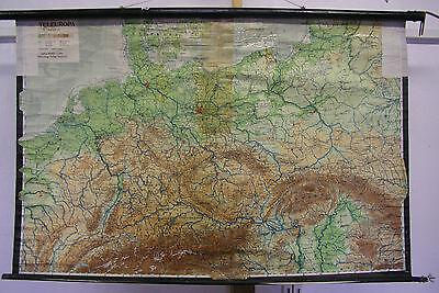 Schulwandkarte Wall Map Map 1946 Germany Nun Central Europe 124x82cm
