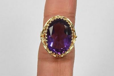 14k Yellow Gold 9.92 ct Amethyst Design Leaf Solitaire Ring Oval Purple Size 7