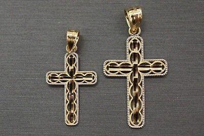 10K Solid Yellow Gold Diamond Cut Cross Charm Crucifix Pendant. ()