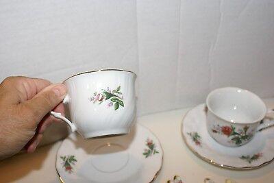 2 Truly Tasteful Teacup & Saucer Sets Pink Rose Buds Flowers White Fine China