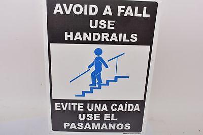 Lot of 2 NEW Brimar E5337BI-BC Bilingual Avoid A Fall Use Handrails Sign