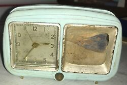 Vintage Sheffield Merchandise Childs Alarm Clock Music Box Distressed But Works