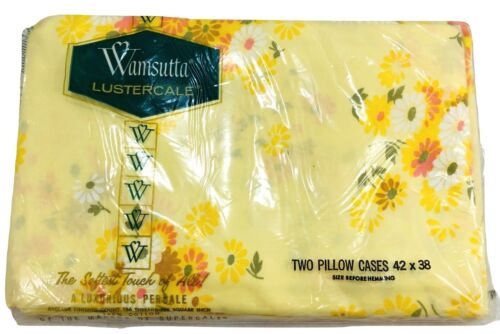 Pillowcases Wamsutta Lustercale 1970 Yellow Floral Vintage New USA