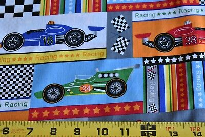 Used, By 1/2 Yd, Colorful Race Car Patches on Quilt Fabric, Marcus Brothers, N3856 for sale  Rochester