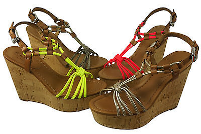 Coach Womens Georgiana Pink-Yellow-Light Gold-Olive Platform Wedge Sandals Heels