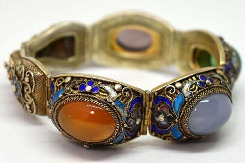 Exquisite Chinese Silver, Carnelian, Amethyst, Jade Filigree Enamel Bracelet