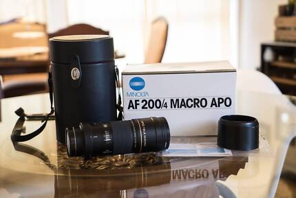 Minolta AF 200mm F4 Macro APO G with filter for Sony Alpha Eight Mile Plains Brisbane South West Preview