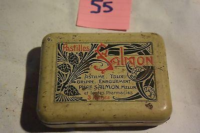 C55 Ancienne boite en métal pastille Salmon rhume