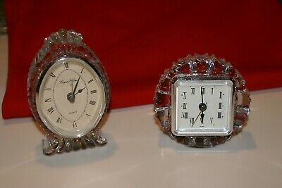 2 Crystal CLEAR  quartz Mantle Clocks Hand Crafted 24% Lead Crystal BOTH WORK