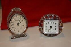 2 Crystal CLEAR  quartz Mantle Clocks Hand Crafted 24% Lead Crystal BOTH WORK