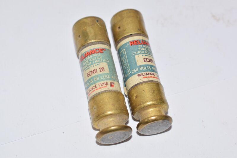Lot of 2 Reliance ECNR 20 Fuses 250 Volts