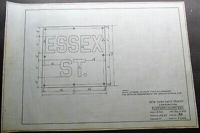 ESSEX ST Station New York City Subway Plans For PORCELAIN Platform Column SIGN