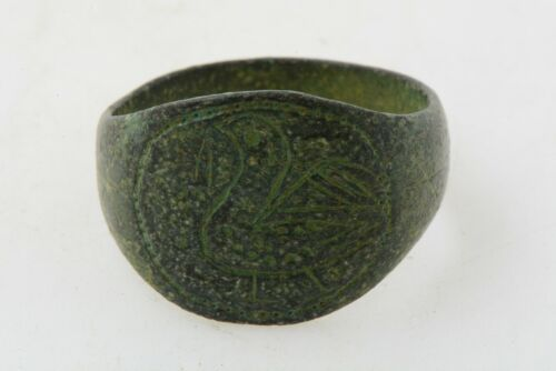 Celtic bronze intaglio ring Bird 200 AD Sz 9 3/4