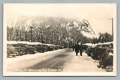 Snoqualmie Pass Ski Season Rppc Vintage Washington Cascades Snow Ellis Photo 40S