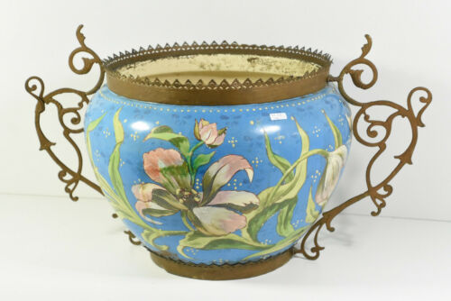 HUGE Antique Art nouveau ceramic barbotine enamel Planter jardiniere Floral