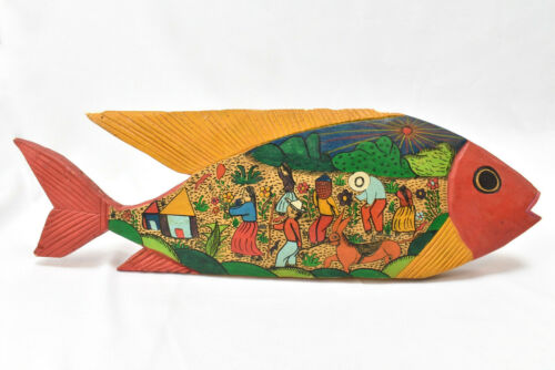 "Hand Carved Painted Wood Fish 17"" Colorful Folk Art Farmers"