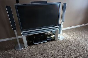 Sony TV, stand, 5 disc DVD for 5 speaker surround sound