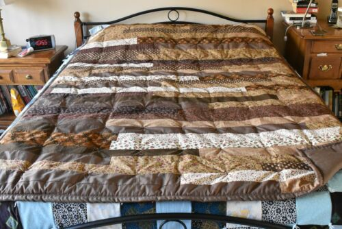 """Brown on Brown Line-by-Line Quilt, About 60"""" x 80"""", D02"""