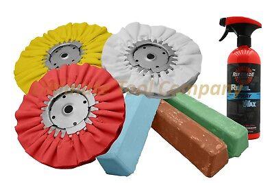 7pc Buffing Kit Wheel & Polishing Aluminum Ultra Shine Compound Set w/ Rebel Wax Polishing Aluminum Wheels