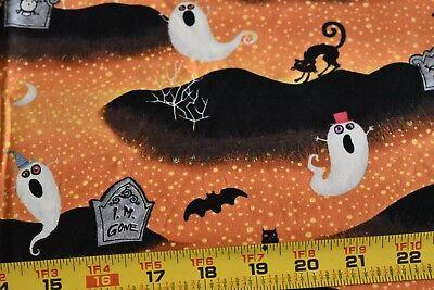 By 1/2 Yd, Halloween Scene on Orange & Black Cotton, Wilmington/Eisner, N3727