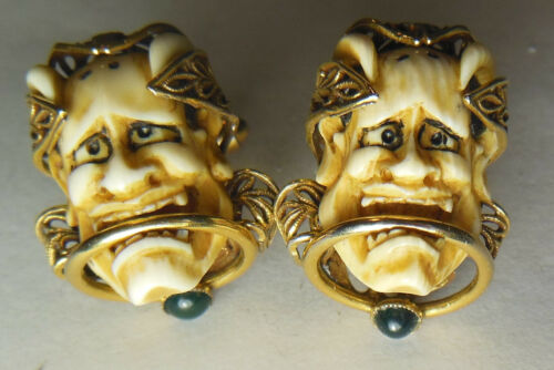 💀💀Old Vtg. Japanese Noh Hannya Demon/Satan/Lucifer/Devil mask cuff links