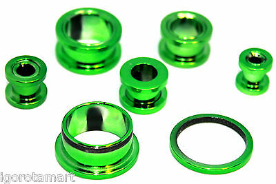 ANODIZE GREEN DRUM ACRYLIC FLESH TUNNEL EAR PLUG STRETCHER EXPANDER FLARED PLUGS
