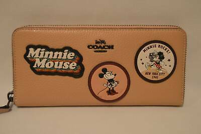 Coach Disney Minnie Mouse Slim Zip Around Accordion Wallet Beechwood Leather NIB