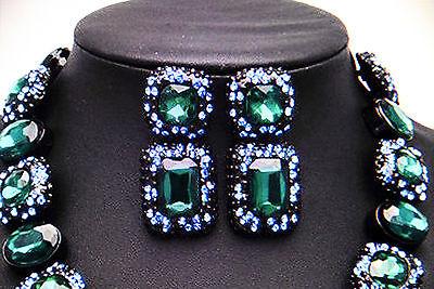 Statement Ohrringe Ohrstecker Strass Kristalle grün blau glamourös NEU