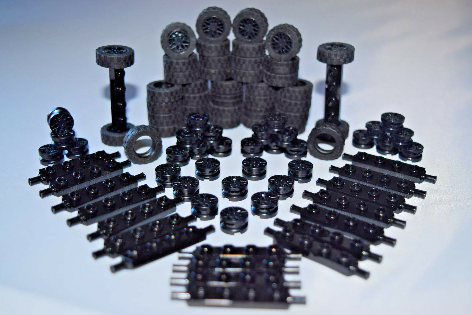 Car Parts - ☀️NEW LEGO Car Parts 100 pcs BLACK Wheels Tires Axles Rims Race Big Truck