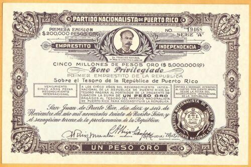 PUERTO RICO COPIA BONO PARTIDO NACIONALISTA DE PUERTO RICO 1930