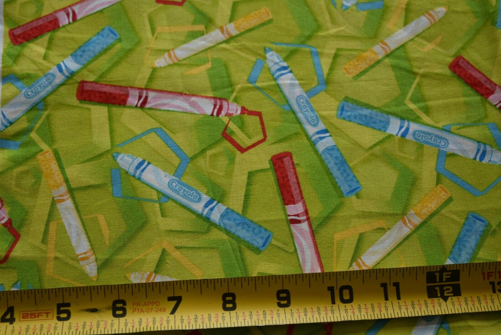 "31"" Long, Crayola Markers on Green Fabric/Quilting Treasures"