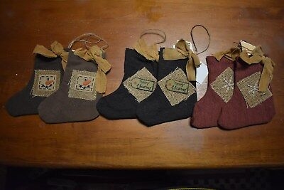 NEW  PRIMITIVE COUNTRY CHRISTMAS SET/6 ORNAMENT SOCK STOCKING HOME DECOR