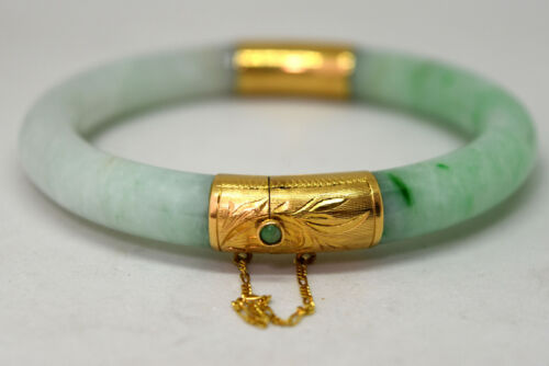 Vintage Chinese 14K Solid Gold and Natural Untreated Undyed Jade Bangle Bracelet