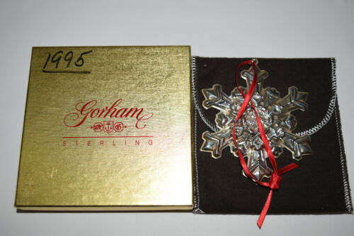 Gorham Annual Sterling Snowflake Ornament 1995 Used Writing on Box No Card