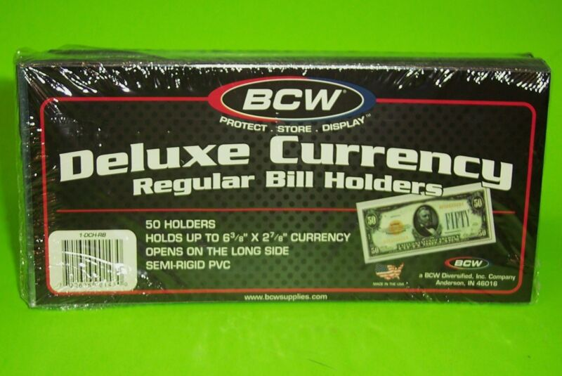 50 REGULAR BILL DELUXE CURRENCY HOLDERS, SEMI-RIGID, HOLDS U.S. & OTHER CURRENCY