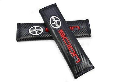 06 Scion Xa Carbon - x2 Black Carbon Fiber Look Embroidery Logo SCION Seat Belt Cover Shoulder Pads