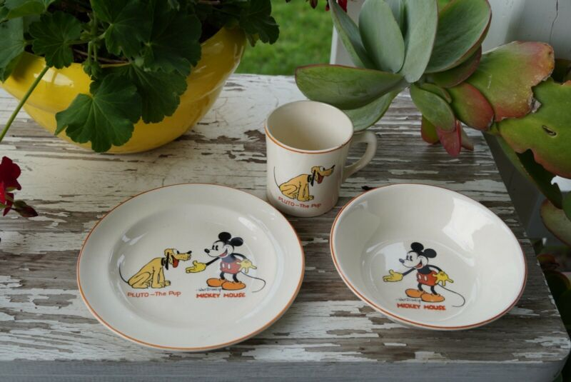 Vintage 1930's Mickey Mouse & Pluto Plate, Dish Cup Patriot China, Made In USA