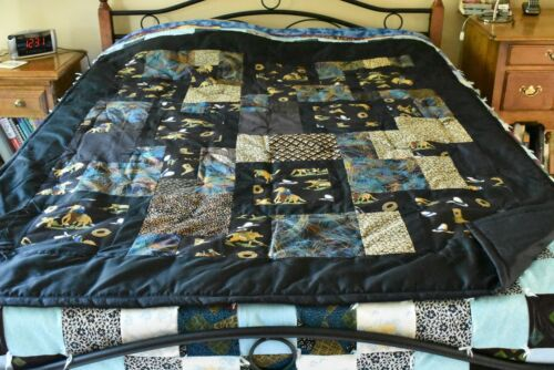 """Multi-Color on Black """"Perfect 10"""" Horses Quilt, About 55"""" x 70"""", Handmade, B09"""