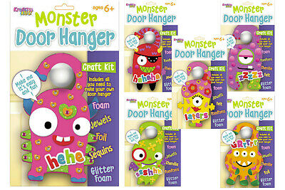 Monster Door Hangers Kids Craft Kits Childrens Art Crafts Fun Foam Hanger (Foam Door Hangers)