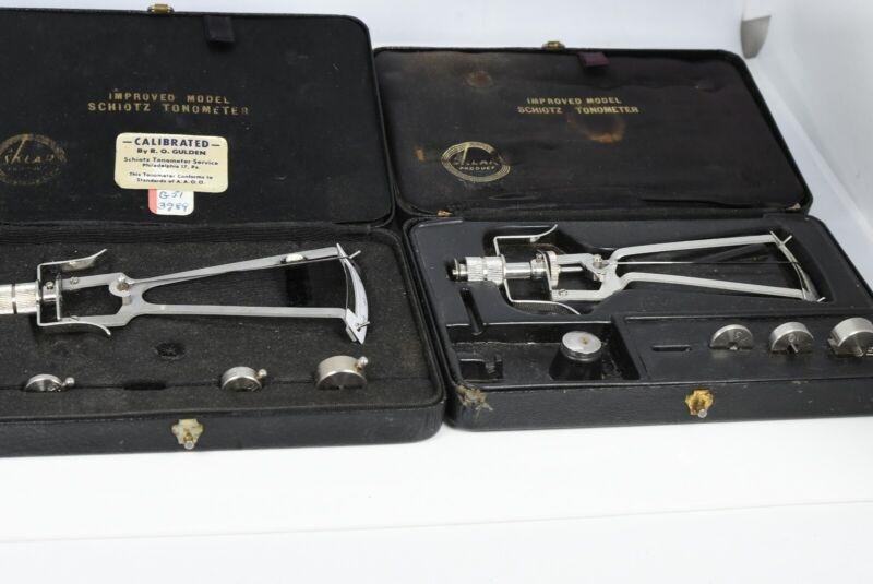 2x Vintage Sklar Product Schiotz Tonometer in black Cases
